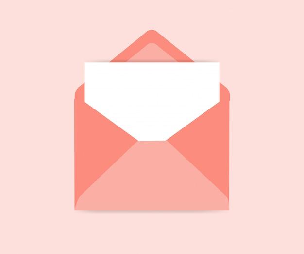 Enveloppe ouverte vector icon illustration avec feuille de papier