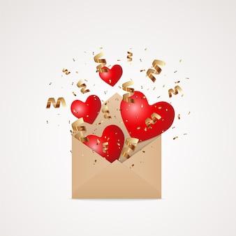 Enveloppe de papier kraft ouvert avec des coeurs rouges volants et tombants et une explosion de confettis de paillettes dorées, élément de conception d'illustration festive isolé sur fond blanc