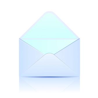 Enveloppe de papier ouverte de couleur bleue sur blanc