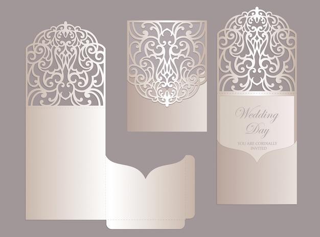 Enveloppe de pli de poche d'invitation de mariage découpé au laser orné. modèle de traceur de découpe.