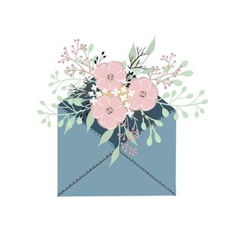 Enveloppe postale avec des fleurs romantiques