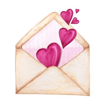 Enveloppe postale pour la saint-valentin avec hearts flying away. concept de carte de voeux. bande rose à l'intérieur, beau style rétro romantique. illustration isolée aquarelle dessinée à la main.