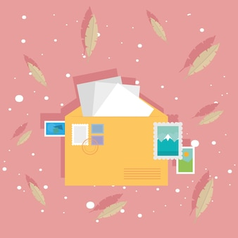 Enveloppe postale et timbres