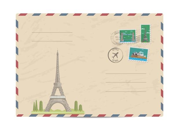 Enveloppe postale vintage avec timbres