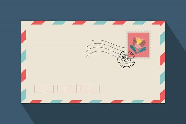 Enveloppe pour lettres et affranchissement avec timbre