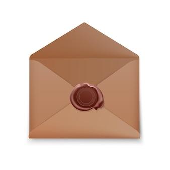 Enveloppe réaliste, enveloppe ouverte avec cachet de cire, enveloppe avec timbre isolé.