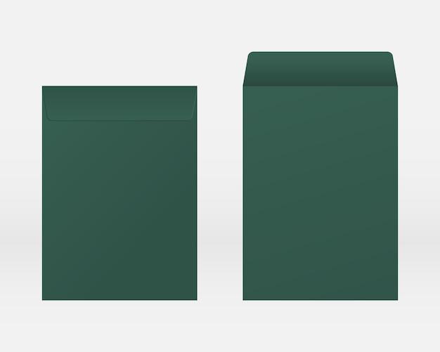 Enveloppe réaliste vierge avant et arrière vue maquette. vecteur de maquette isolé. conception de modèle.