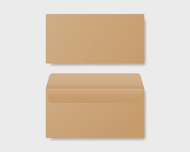 Enveloppe réaliste vierge dans la maquette de vue avant et arrière. maquette en papier kraft d'enveloppe. vecteur de maquette isolé. conception de modèle.