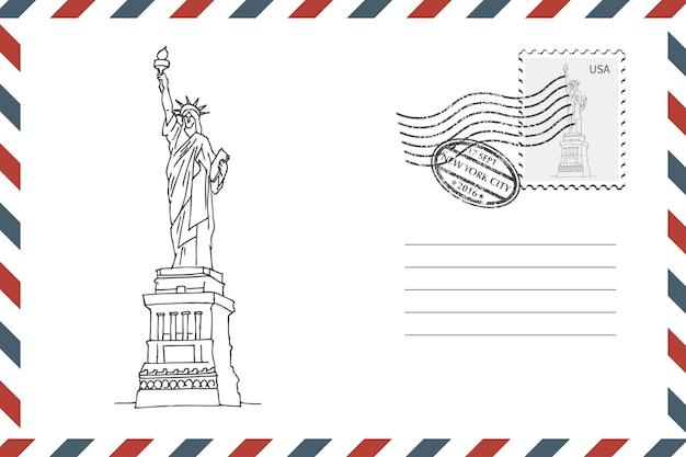 Enveloppe rétro d'affranchissement avec la statue de la liberté dessinée à la main à new york. enveloppe de style grunge avec timbre. illustration vectorielle