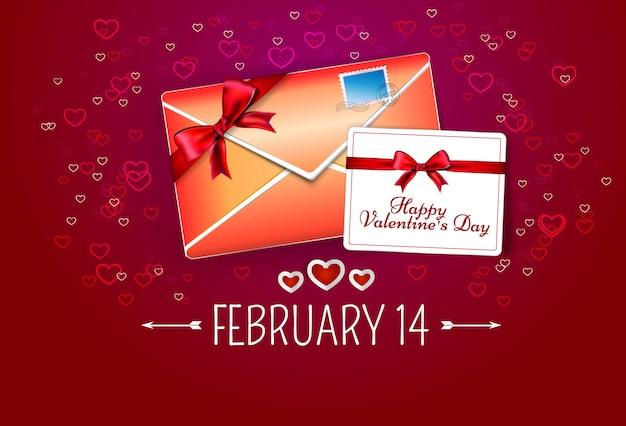 Enveloppe rouge avec carte de voeux sur fond rouge