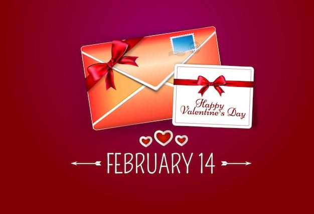 Enveloppe rouge avec carte de voeux