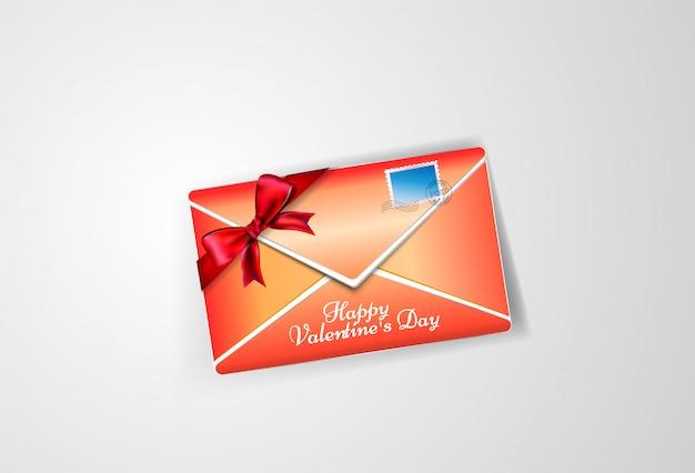 Enveloppe rouge avec timbre et noeud pour la saint valentin