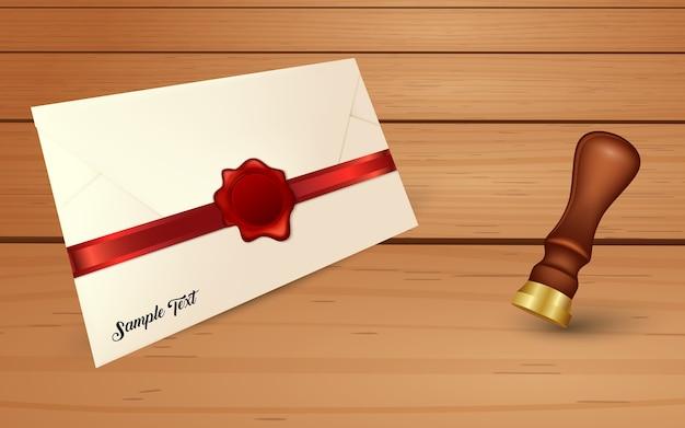 Enveloppe et sceau de cire rouge avec sceau