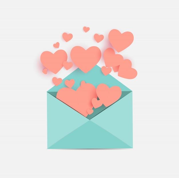 Enveloppe avec symbole coeur. illustration d'amour et de sentiments