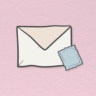 Enveloppe et timbre doodle template vecteur
