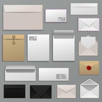 Enveloppe vecteur vide de lettre sur papier postal à l'adresse des expéditeurs postaux et ensemble d'illustration de modèle de carte postale