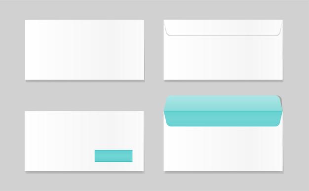 Enveloppe vide ouverte et fermée maquette modèle de lettre vierge réaliste enveloppes blanches c4