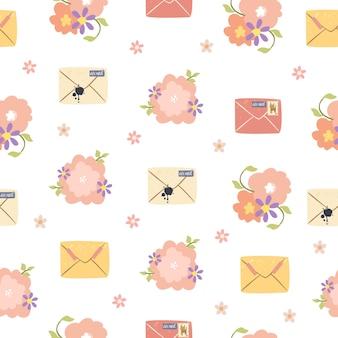 Enveloppes et fleurs modèle sans couture