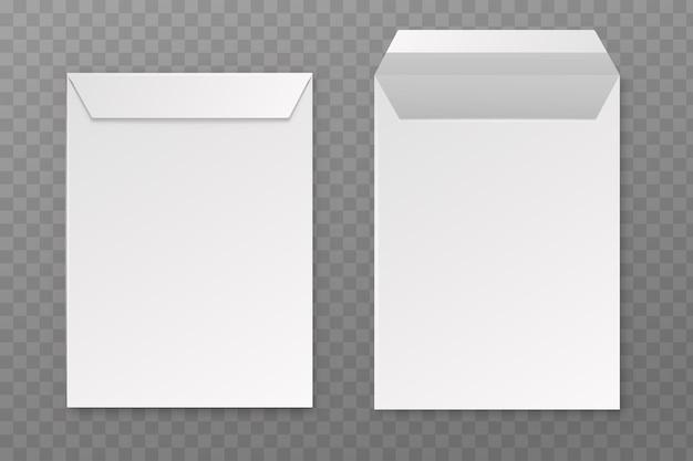 Enveloppes. maquette d'enveloppe réaliste a4 vierge de vecteur, papier à lettres carré blanc vide ouvert et fermé, papeterie de bureau en vue de face, modèle isolé sur fond transparent