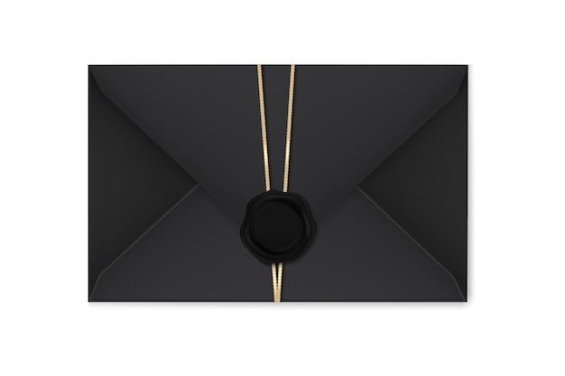 Enveloppes noires réalistes avec un timbre