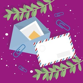 Enveloppes postales et clips