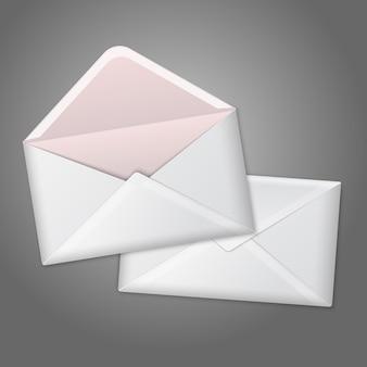 Enveloppes réalistes blanches vierges ouvertes et fermées.