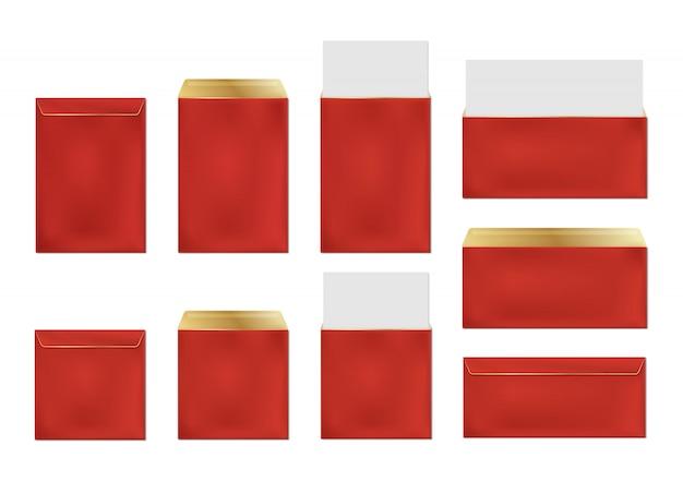 Enveloppes rouges, ensemble de modèles de couvertures en papier vierge