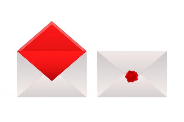 Enveloppes scellées à la cire sur fond blanc