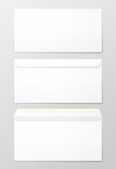 Enveloppes vierges, 3 vues. illustration vectorielle photo-réaliste.