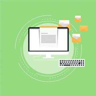 Enveloppes volantes avec un ordinateur