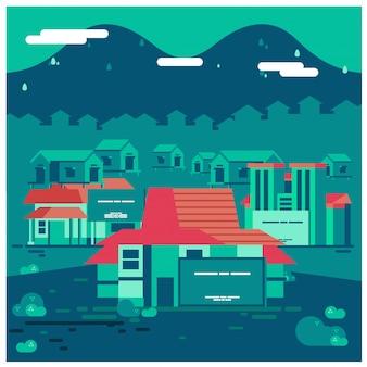 Environnement de bâtiment de bureau traditionnel javanais, illustration vectorielle de gouvernement bureau espace