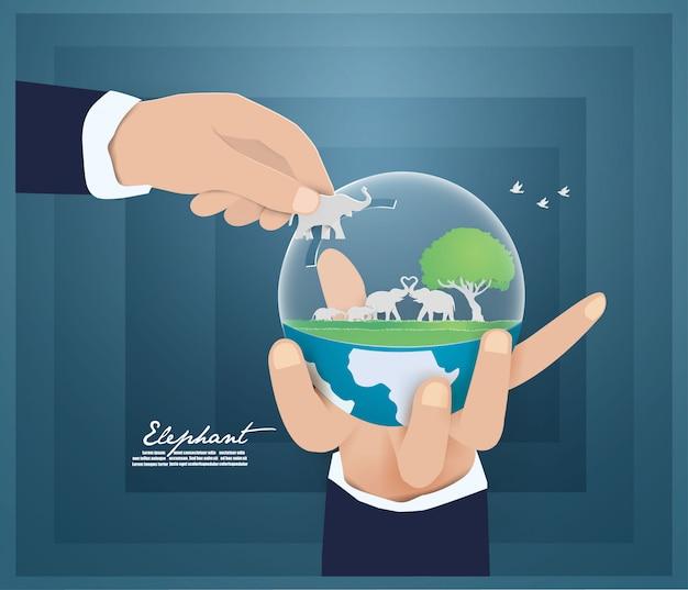 Environnement du monde et et sauver la nature, animaux, concept de la faune.