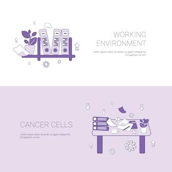 Environnement de travail et bannière web de modèle de concept de lieu de travail avec espace de copie