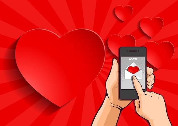 Envoi d'un message d'amour, fond abstrait