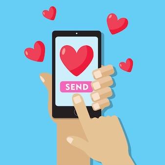 Envoi d'un message d'amour