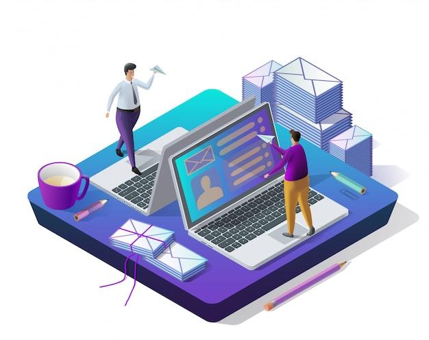 Envoi de messages. boîte de réception électronique, électronique