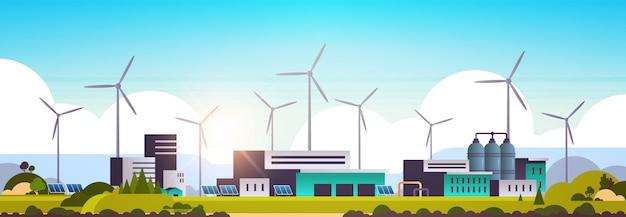Éolienne panneau solaire source d'énergie alternative bâtiment d'usine usine industrielle