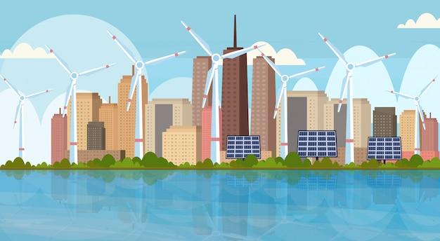 Éoliennes, panneaux solaires, propre, alternative, source d'énergie, renouvelable, station, concept, moderne, paysage urbain, horizon, fond, horizontal