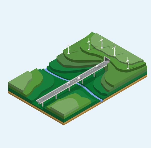 Éoliennes sur le paysage de la montagne.