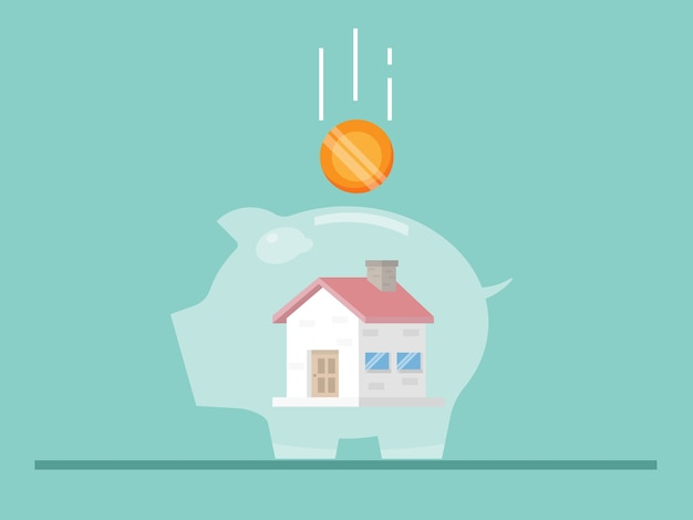 Épargne pour la maison avec illustration tirelire plat