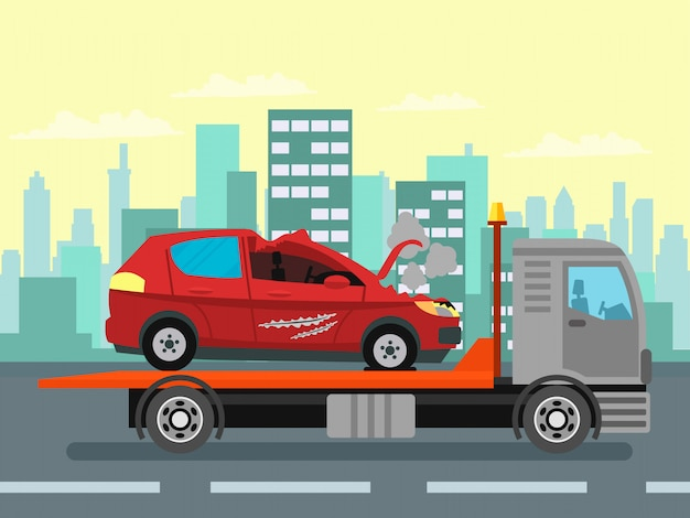 Épave de voiture, illustration en couleur du service d'évacuation