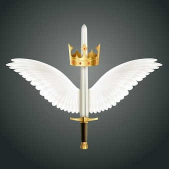Épée accompagnée d'ailes et illustration de la couronne