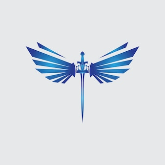 Épée avec des ailes et image vectorielle de roi