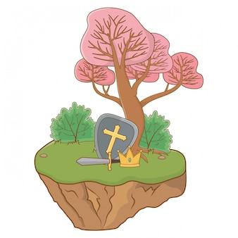 Épée de bouclier et couronne d'illustration de conte de fées