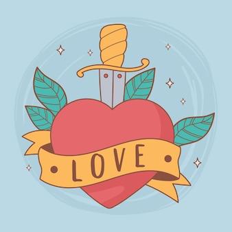 Épée Coeur Illustration Vecteur Premium