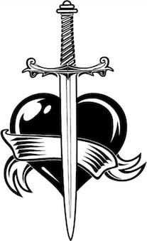Épée et le coeur avec un ruban