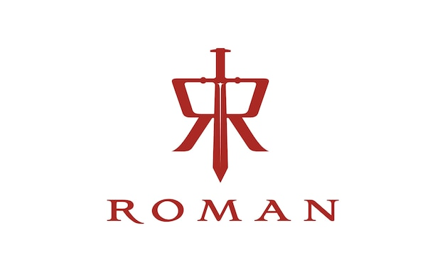 Épée Avec Logo Initial R Roman Vecteur Premium