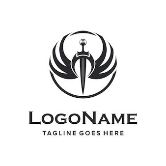 Épée noire avec deux ailes emblème création de logo simple vintage