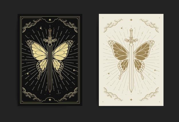 Épée qui a des ailes de papillon