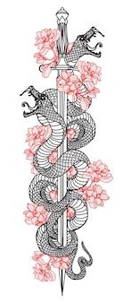 Épée de serpent d'art de tatouage et dessin de fleur et croquis noir et blanc